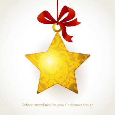 Golden star with ribbons and place for text.