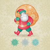 Jolly Santa Claus with a bag of gifts and snowflakes. — Stock Vector
