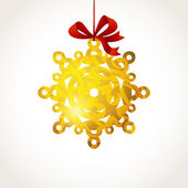 Golden snowflake with ribbons and place for text. — Stock Vector