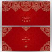 Vintage ornate cards in oriental style. — Stock Vector