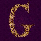 Gold font type letter G — Stock Vector