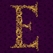 Gold font type letter E — Vector de stock