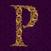 Altın yazı tipi türü harf P — Stok Vektör