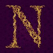 Gold font type letter N — Stock Vector