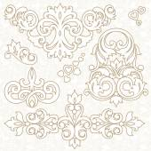 Set of ornament in Victorian style. — Stock Vector