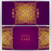 Vintage ornate cards in oriental style. — Vetor de Stock