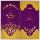 περίτεχνα vintage κάρτες σε ανατολικό στυλ. — Διανυσματικό Αρχείο