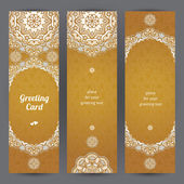 Vintage ornate cards in Eastern style. — Stock Vector