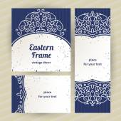 Vintage ornate cards with Eastern elements. — Stock Vector