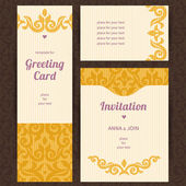 Ornate cards with Victorian elements — Stock Vector