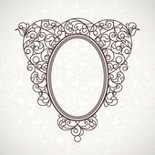 Decorative line art frame in Eastern style. — Stock Vector
