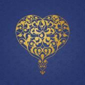 Ornate golden heart in Eastern style. — Stock Vector