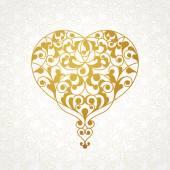 Ornate heart in line art style. — Stock Vector