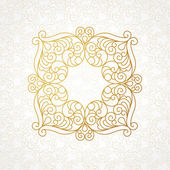 Filigree line art frame in Eastern style. — Stock vektor