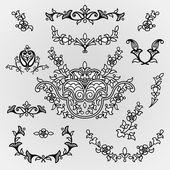 Vintage line art vignettes in Eastern style. — Stock Vector