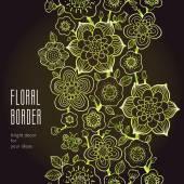 Line art floral edging on dark background — Stock Vector