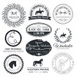 Perfect horse related business symbols with antique texture — Stock Vector #52712659