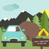 Camping illustration - bear trying to get into the car, — Stock Vector