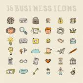 Set of business icons made in fun doodle way — Stok Vektör