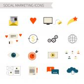 Set of flat social marketing icons — Vector de stock