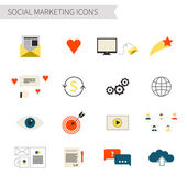 Set of flat social marketing icons — Stock vektor