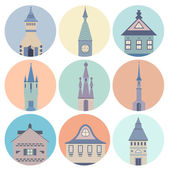 Modern set of beautiful fairytale castles made in different styles — Stock Vector