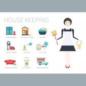 Young woman doing house work with different housekeeping icons — Stock Vector