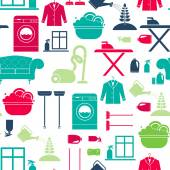 Seamless  background with house cleaning items — Stock Vector