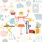 Busy housekeeper simultaneously doing many tasks around the house — Stock Vector