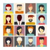 Set of flat people icons — Stock Vector