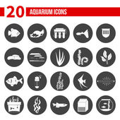 Set of modern flat aquarium icons — Stock Vector