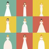 Brids In Wedding Dresses — Vetor de Stock