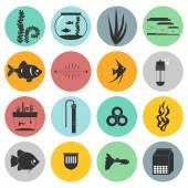 Aquarium Icons — Stock Vector