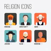 Religion People Icons — Stock Vector