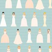 Brides in different wedding dresses — Stock Vector