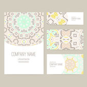 Set of business card with lace ornament — Vettoriale Stock