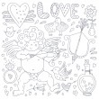 Valentines Day Doodle Collection — Vetor de Stock  #64113673