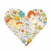 浪漫的卡片概念 — 图库矢量图片