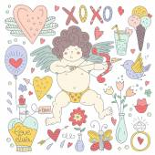 Valentines Day Doodle Collection — Vetor de Stock