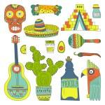 Hand drawn set of mexican symbols — Stock Vector #66250639