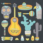 Hand drawn set of mexican symbols — Vetor de Stock
