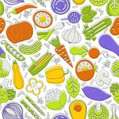 Seamless pattern with different vegetables. — Stock Vector
