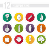 Icons with different vegetables — Stock Vector