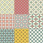 Four geometric seamless patterns. — Stok Vektör