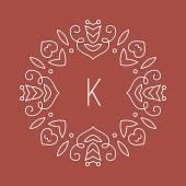 Elegant floral monogram template — Stock Vector