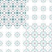 Four geometric blue seamless patterns — Stock Vector