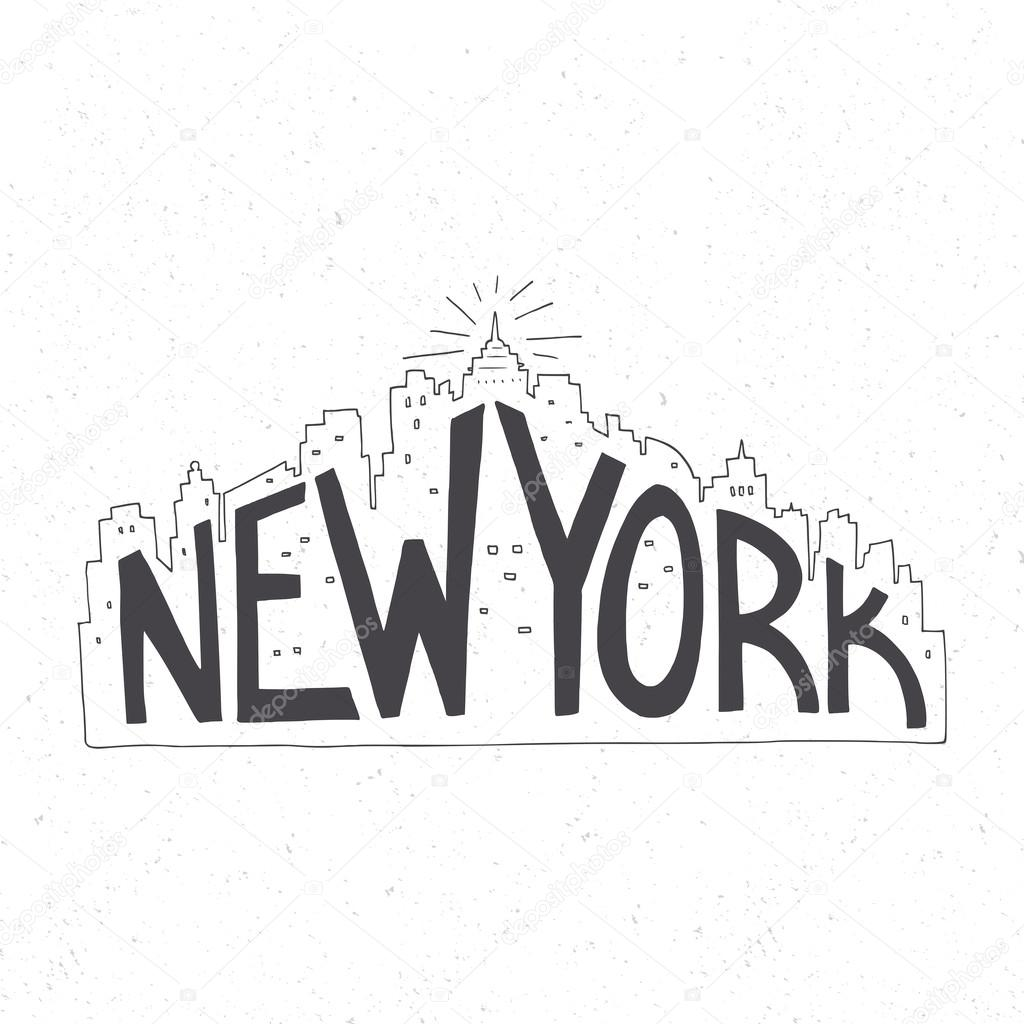 New York Vintage Hand Drawn Lettering Poster Stock