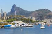 Christ the Redeemer Corcovado Guanabara bay boats yacht, Rio de  — Stock Photo