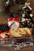 Piece of Panettone - sweet bread loaf with fruit traditional for — Stock Photo