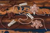 Colorful crochet snowflakes for Christmas decoration of chaplet  — Stock Photo